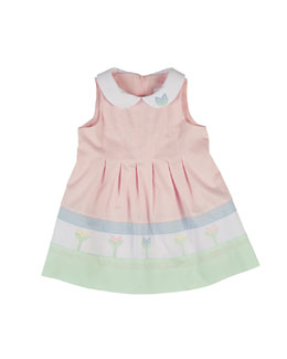 Sleeveless Finewale-Pique Tulip Dress, Multicolor, Size 2-6