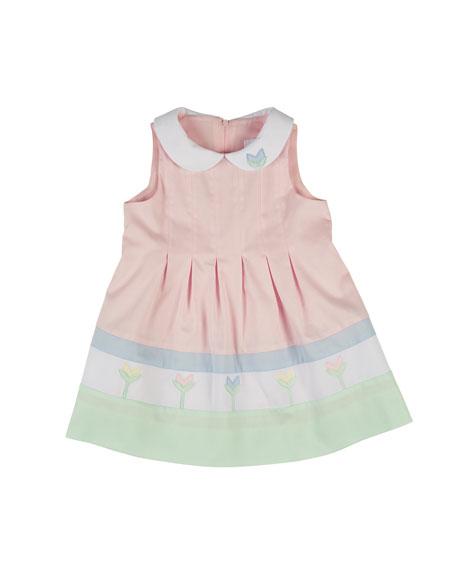 Florence Eiseman Sleeveless Finewale-Pique Tulip Dress, Multicolor, Size 2-6