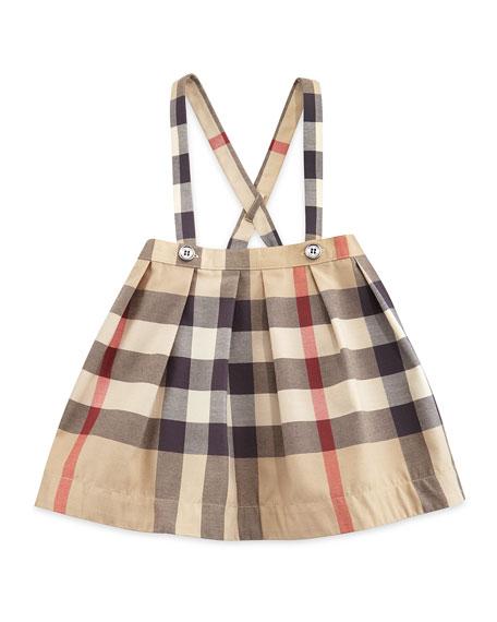 Burberry Sofia Pleated Check Skirt W Suspenders Tan