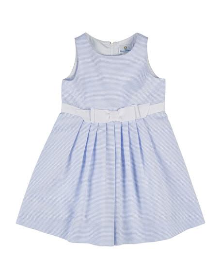Florence Eiseman Sleeveless Pleated Ottoman Dress, White/Blue, Size 4-6