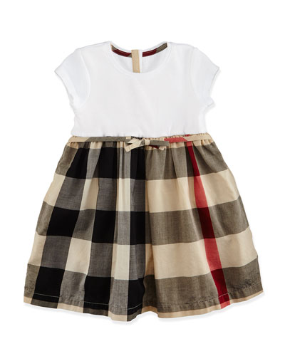 Cap-Sleeve Check-Skirt Combo Dress, Tan, Size 3M-3
