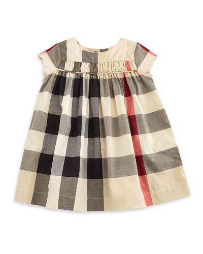 Ariadne Cap-Sleeve Check Shift Dress, Tan, Size 3M-3