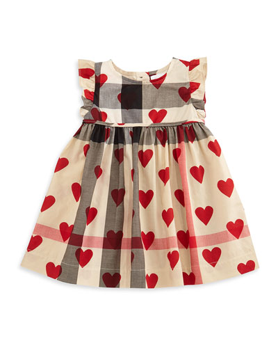 Amanda Sleeveless Heart & Check Dress, Tan/Parade Red, Size 3M-3