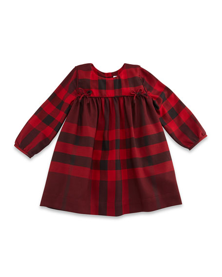 Burberry Thea Long-Sleeve Check Dress, Burgundy Red, Size