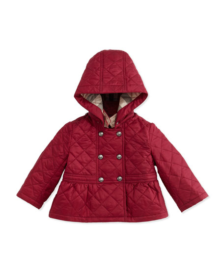 Burberry Portree Hooded Military Jacket, Fritillary Pink, Size