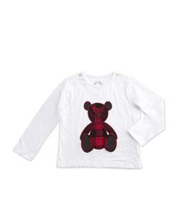 Long-Sleeve Teddy Bear Jersey Tee, White, Size 6M-3