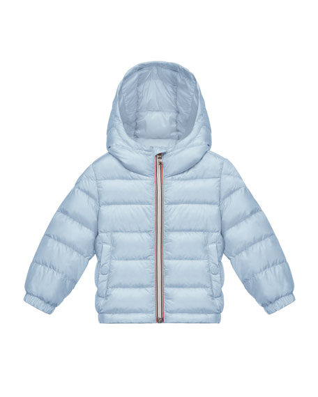Moncler Dominic Hooded Lightweight Down Puffer Coat, Light Blue, Size 12M-3
