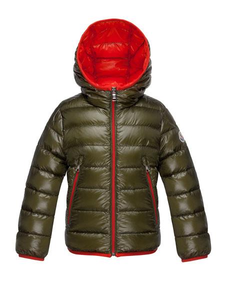Moncler Mir Hooded Lightweight Down Puffer Jacket, Olive,