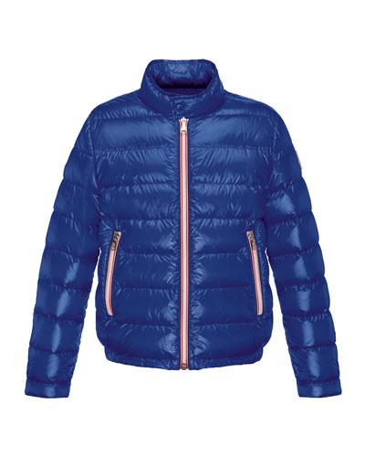 Rigel Zip-Front Lightweight Down Puffer Coat, Dark Blue, Size 8-14