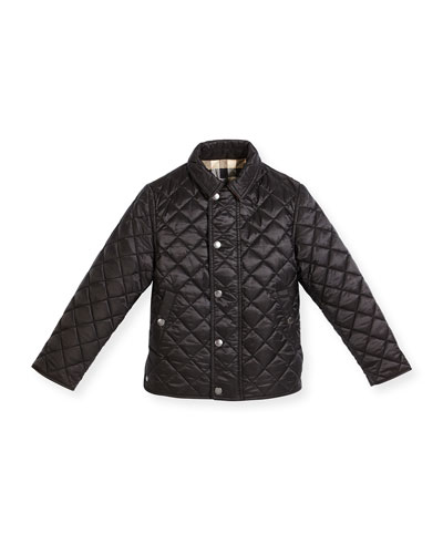 Luke Quilted Snap-Front Jacket, Black, Size 4-14