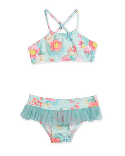 Spring Bloom Skirted Floral Bikini, Multicolor, Size 6M-7