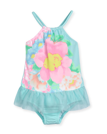 Seafolly Spring Bloom Floral One-Piece Swimsuit, Crystal Blue,