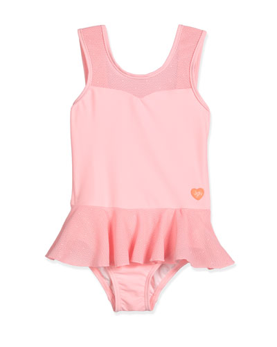 Peek-A-Boo Peplum One-Piece Swimsuit, Carnation Pink, Size 2-7