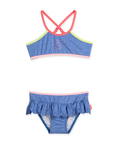Jewel Cove Colorblock Bikini, Denim Blue, Size 2-7