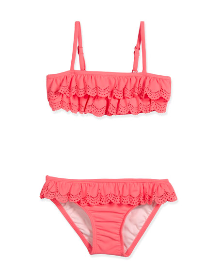 Jewel Cove Laser-Cut Ruffle Bikini, Pink Soda, Size 2-7