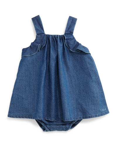 Sleeveless Chambray Play Dress, Blue, Size 3-12 Months