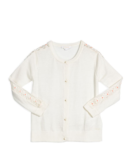 Chloe Embroidered Button-Front Cardigan, Cream, Size 4-5