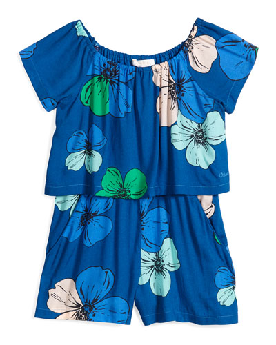 Short-Sleeve Floral Illusion Shortall, Blue, Size 6-10