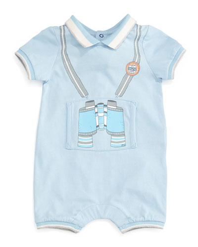 Cotton Jersey Printed Shortall, Blue, Size 6-12 Months