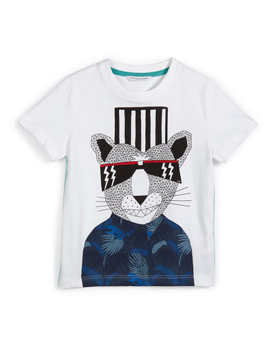 Short-Sleeve Fancy Panther Jersey Tee, White, Size 6-8
