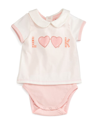 Look Popover-Style Cotton Playsuit, Cream, Size 6-12 Months