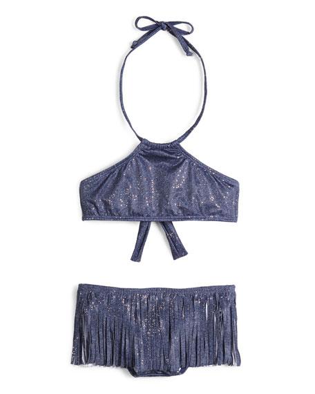 PilyQ Metallic Fringe High-Neck Bikini, Sparkle Denim, Girls'