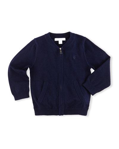 Jaxson Zip-Front Cotton Cardigan  Navy  Size 6M-3