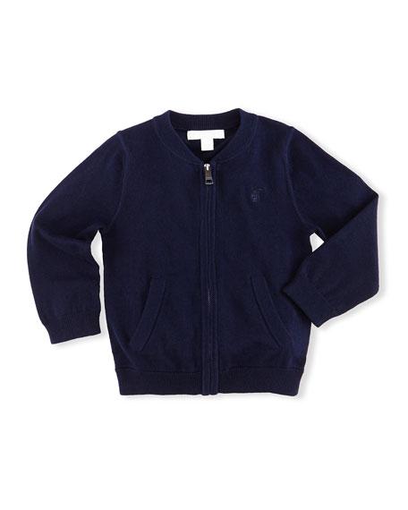 Burberry Jaxson Zip-Front Cotton Cardigan, Navy, Size 6M-3