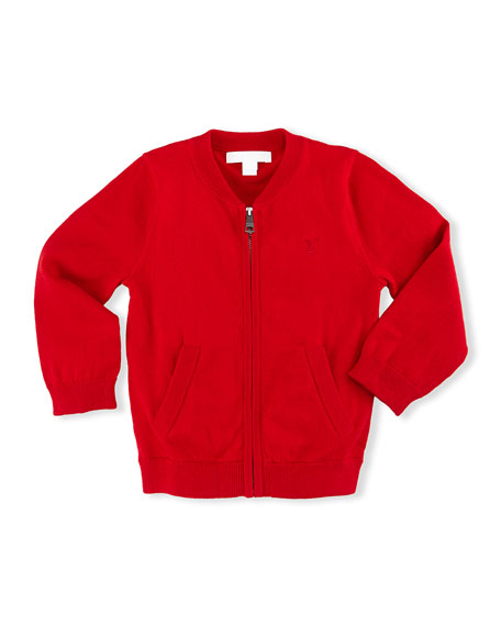 Burberry Jaxson Zip-Front Cotton Cardigan, Red, Size 6M-3