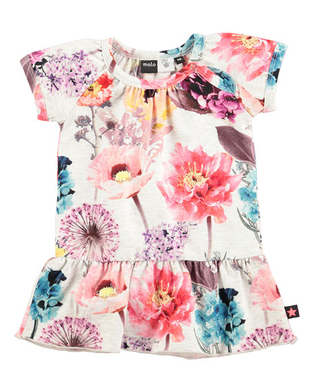 molo Cibbe Floral Shift Dress, Hyper Bloom, Size