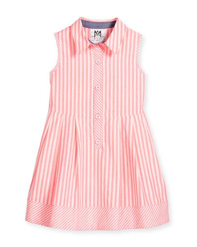 Sleeveless Striped A-Line Shirt, Pink, Size 4-7