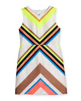 Sleeveless Mitered-Stripe Sheath Dress, Multicolor, Size 8-14