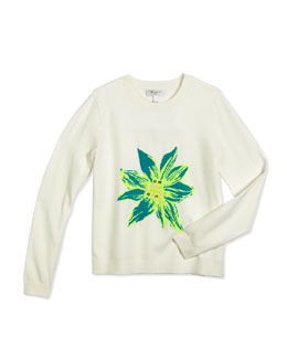 Embellished Intarsia Pullover Sweater, White/Green, Size 8-14