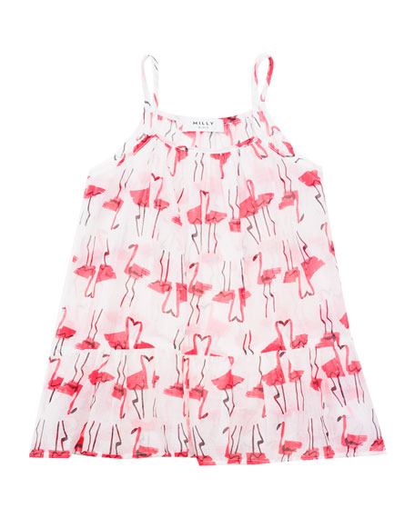 Milly Minis Sleeveless Woven Flamingo-Print Coverup, White/Pink,