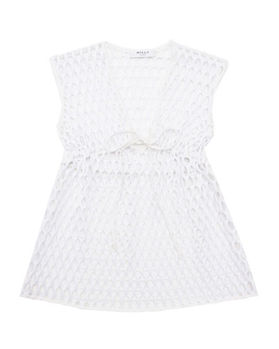 Sleeveless Mesh Drawstring Coverup, White, Size 8-14
