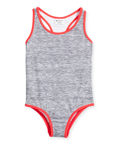 Melange Racerback One-Piece Swimsuit, Gray/Watermelon, Size 8-14