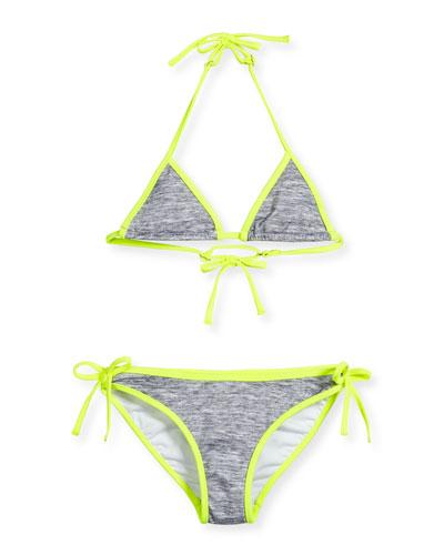 Melange Halter Tie Bikini, Fluo Yellow, Size 8-14