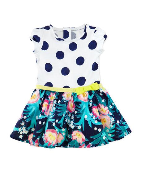 Catimini Polka-Dot & Floral-Print Combo Dress, White/Multicolor,