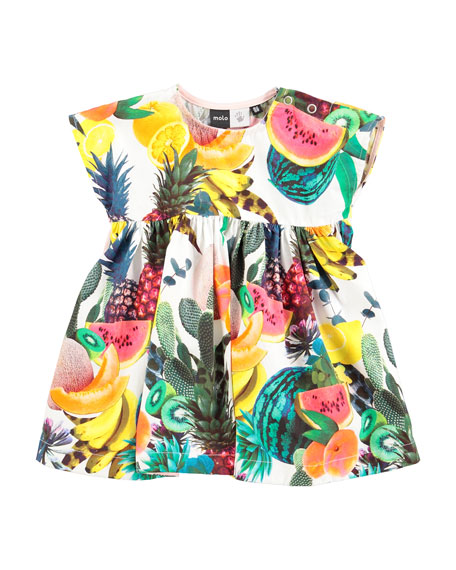 molo Chaka Poplin Fruit-Print Dress, Multicolor, Size 3-24 Months