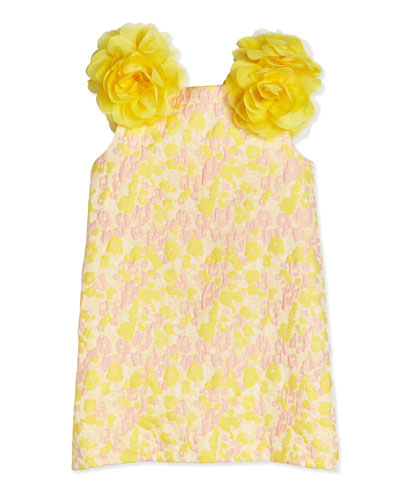 Sleeveless Floral Jacquard Shift Dress, Yellow/Pink, Size 4-10