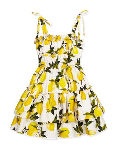 Sleeveless Poplin Lemon-Print Dress, White/Lemon, Size 8-10