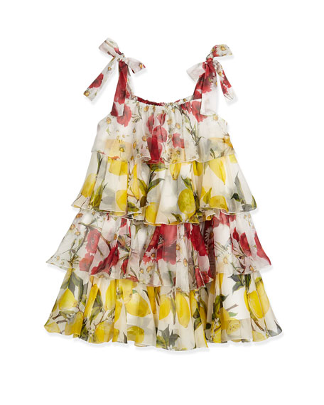 Dolce & Gabbana Sleeveless Tiered Chiffon Lemon-Print Dress,