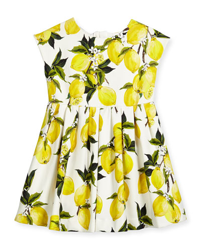 Cap-Sleeve Lemon Fit-and-Flare Dress, White/Multicolor, Size 4-6