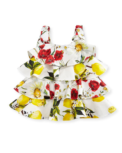 Sleeveless Tiered Lemon-Print Dress, White/Yellow, Size 12-30 Months