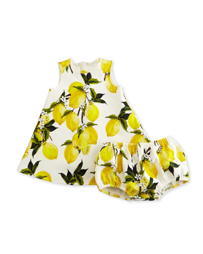 Sleeveless Lemon-Print Shift Dress w/ Bloomers, White, Size 9-30 Months