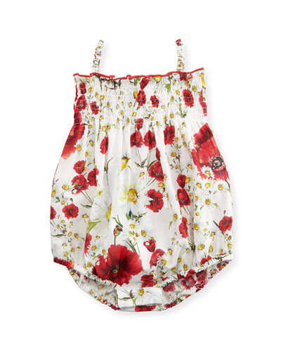 Sleeveless Floral Bubble Playsuit, White/Multicolor, Size 3-18 Months