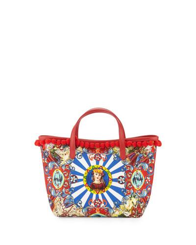 Sicily-Print Pompom-Trim Tote Bag, Carretto/Multi
