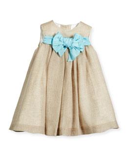 Sleeveless Linen Shift Dress, Natural, Size 4-6