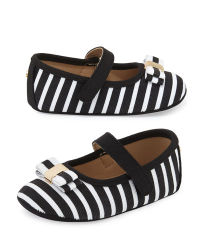 striped grosgrain mary jane flat, black/white, infant