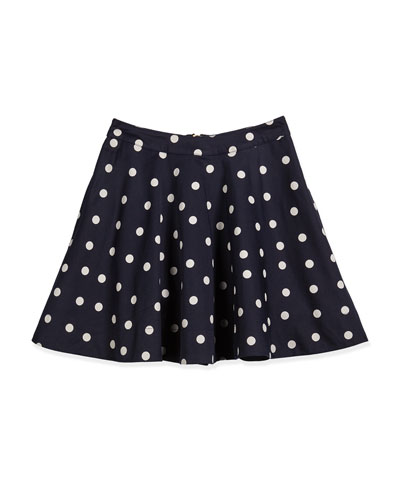 sateen polka-dot a-line skirt, navy/white, size 7-14